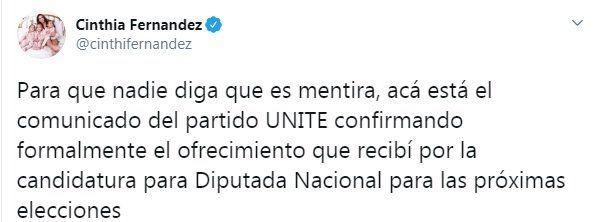 Tuit de Cinthia Fernández