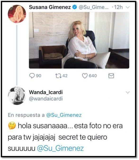 Susana publicó una foto que Wanda Nara no quería; y ella se lo reprochó en Twitter