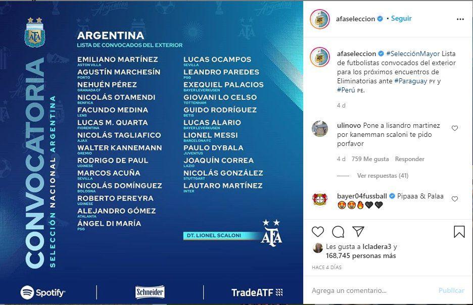 A través de las redes sociales de la AFA selección argentina