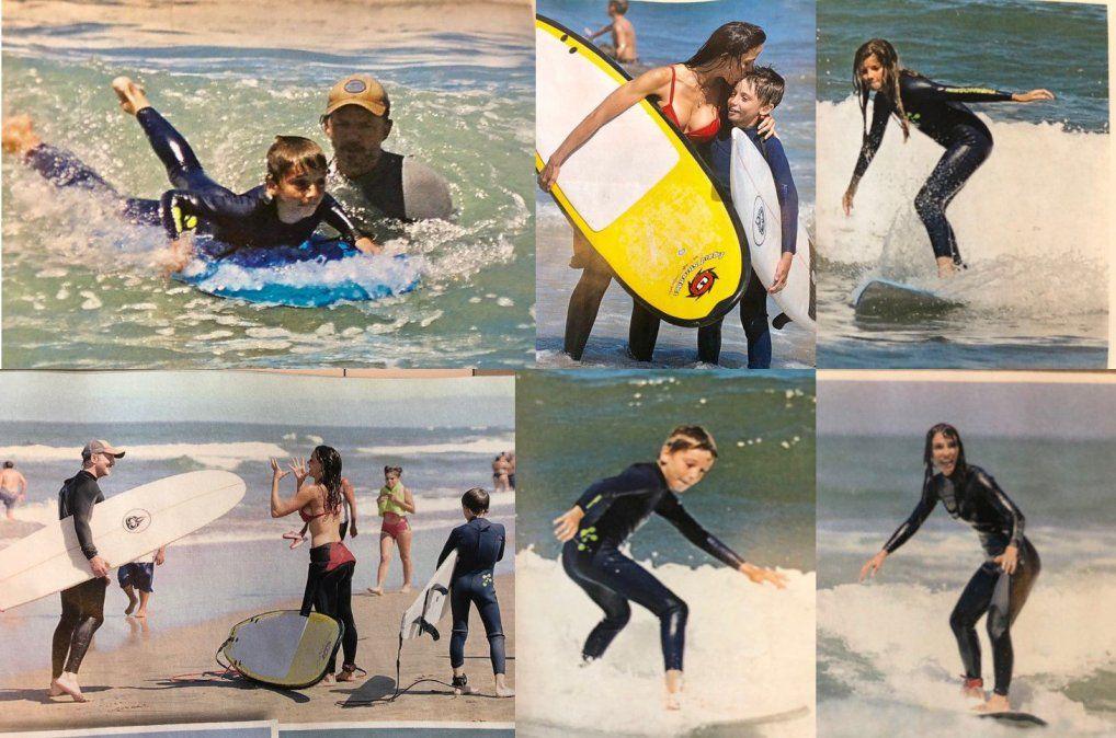 Facundo Arana y María Susini con sus hijos, haciendo surf en Mar del Plata
