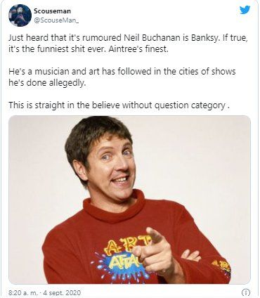Un usuario en Twitter acusó a Neil Buchanan de ser el artista Bansky