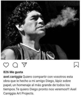 Este es el retrato a lápiz que Axel Caniggia hizo de Diego Maradona