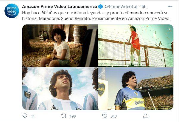 Este fue el posteo que hizo Amazon de la serie de Diego Maradona
