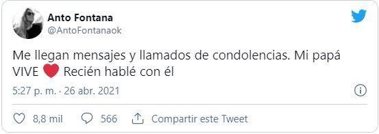 Antonella Fontana desmintió la noticia de la muerte de su padre Cacho Fontana