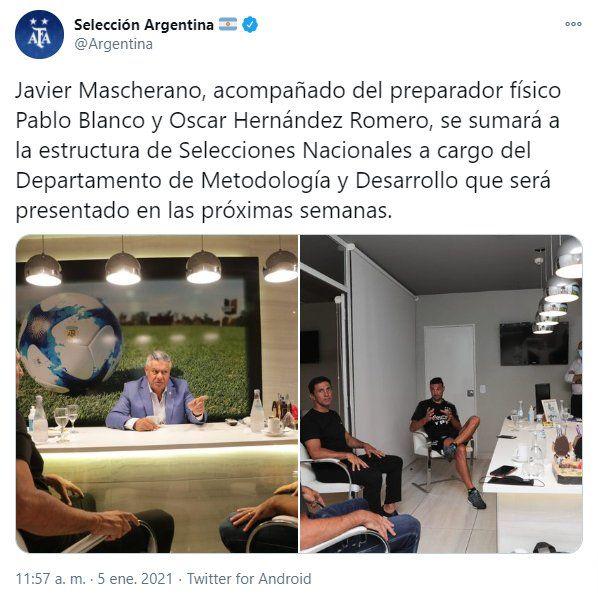 A través de la cuenta Twitter de la selección Argentina se informó del ingreso de Javier Mascherano
