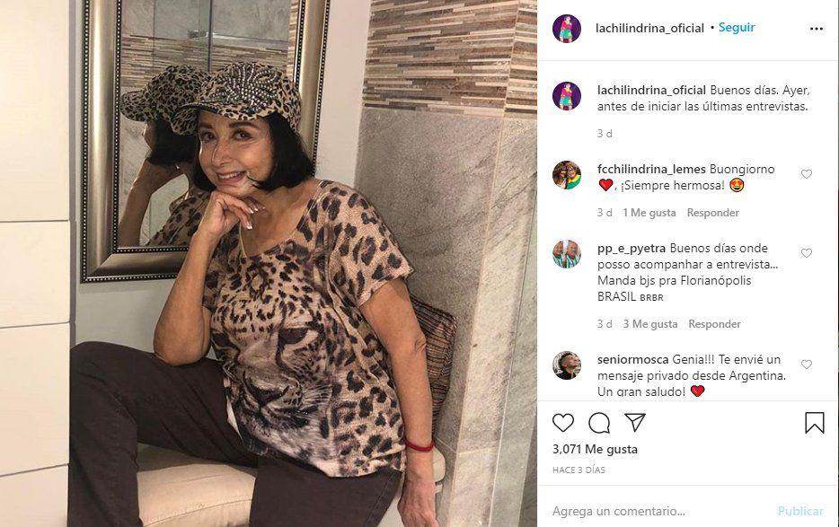 La actriz subio una foto después de su entrevista en Crónica donde habló de la Chilindrina
