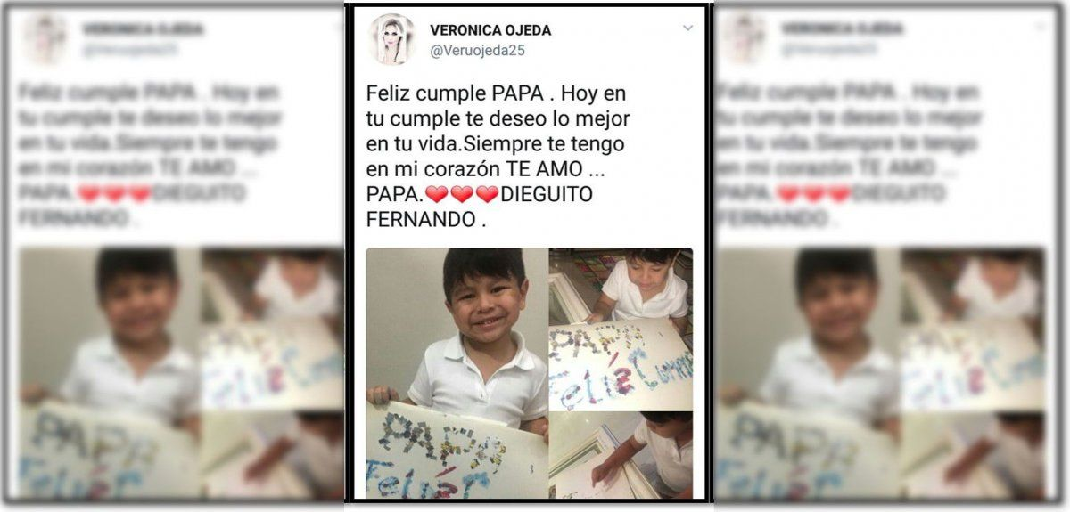 Ojeda puso fotos de su hijo con Maradona, Dieguito Fernando, para saludar a su papá en su día