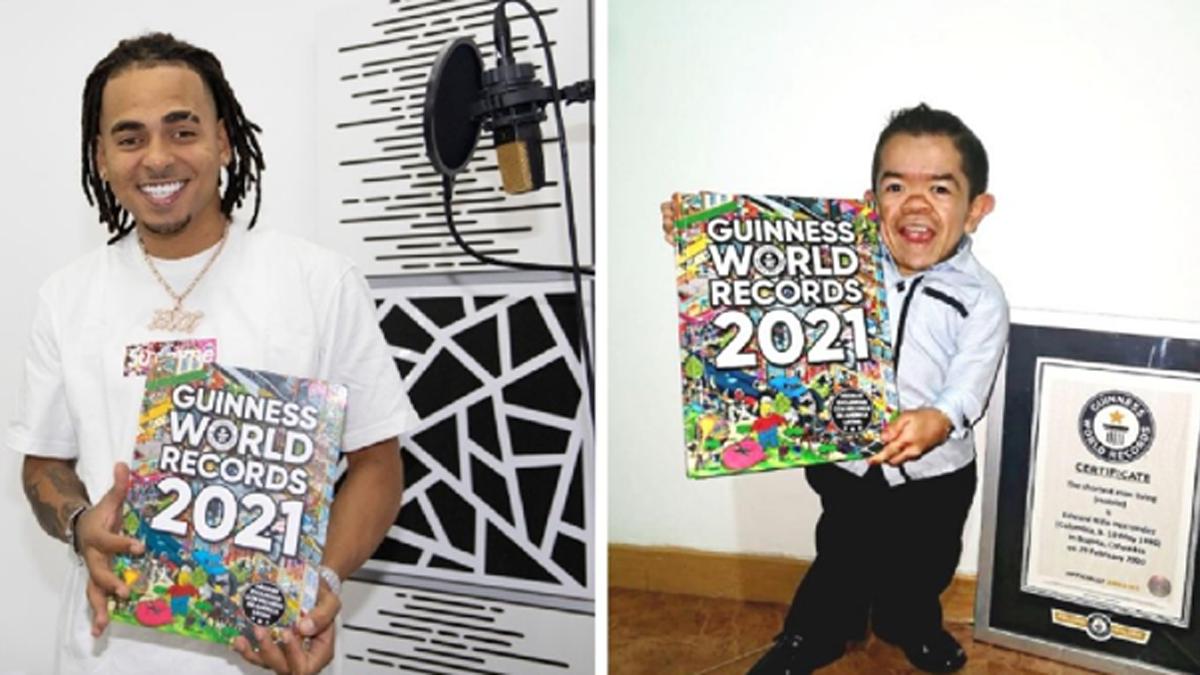 Ozuna sorprende al hombre más pequeño del mundo tras su inclusión en el libro Guinness