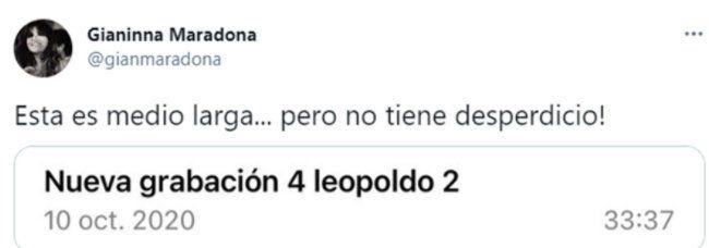 Este es uno de los tuits que Gianinna Maradona reveló con un presunto audio de Leopoldo Luque