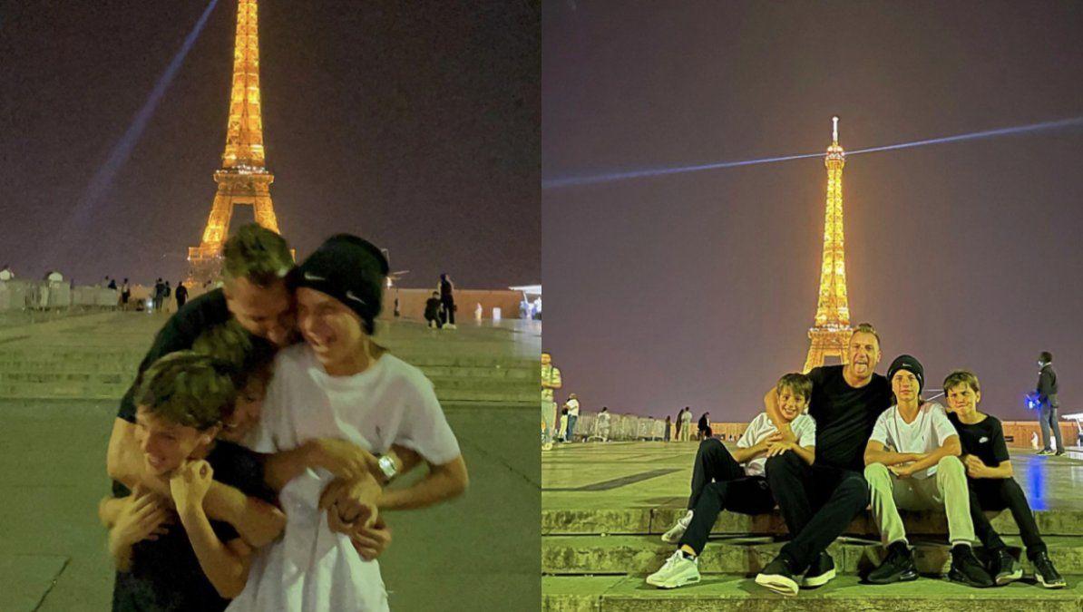 Maxi López posó en la Torre Eiffel con sus hijos y su novia