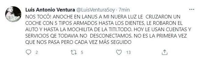 Cinco tipos armados Luis Ventura contó el asalto del que fue víctima su nuera