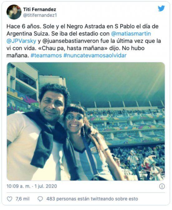 Tití Fernández recordó a su hija a 6 años de su muerte