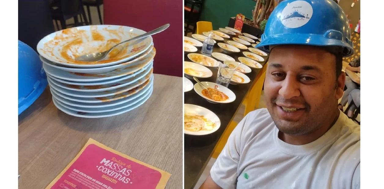Comió 15 platos de pasta en un tenedor libre y lo echaron