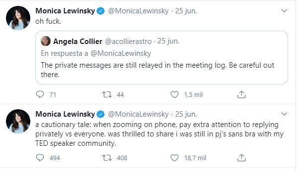La plataforma Zoom le jugó una mala pasada a Monica Lewinsky