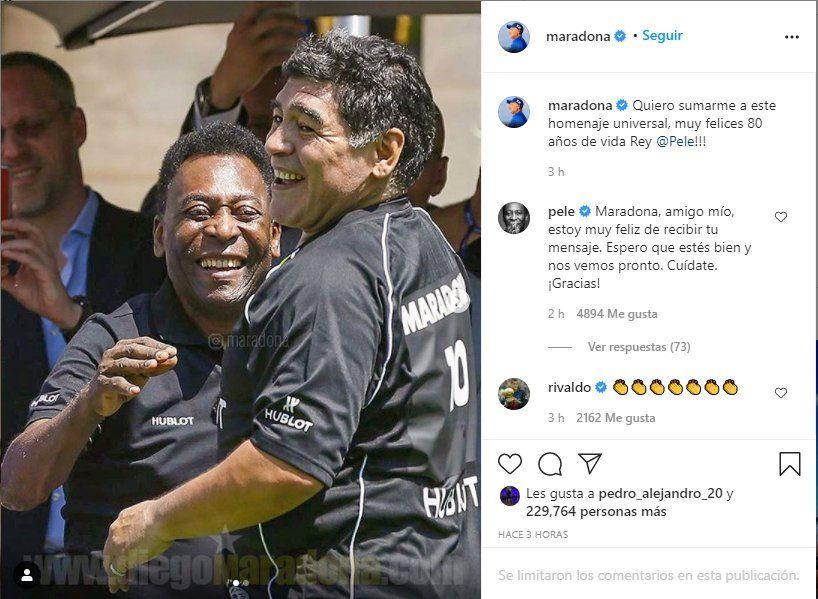 Diego Maradona saludó a Pelé por sus 80 cumpleaños a través de las redes sociales