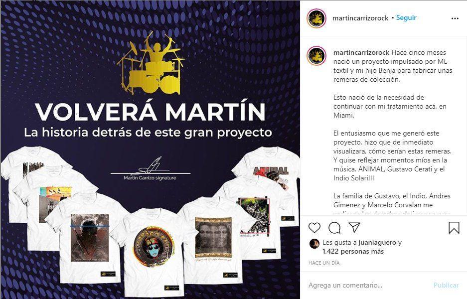 El baterista Martín Carrizo lanzó una campaña para recaudar fondos
