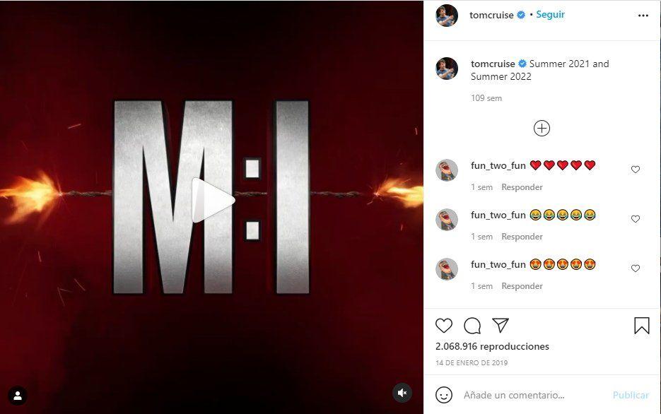 A través de sus redes sociales el actor Tom Cruise promocionó las películas MI 7 y 8