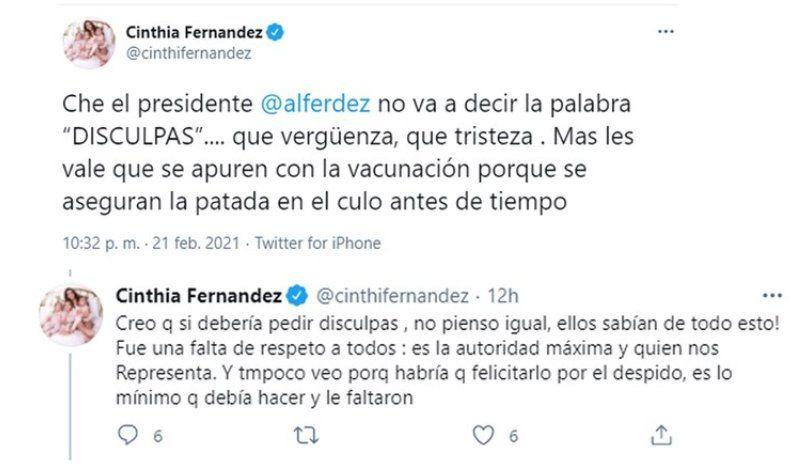 Estos son los tuits que envió Cinthia Fernández al presidente Alberto Fernández