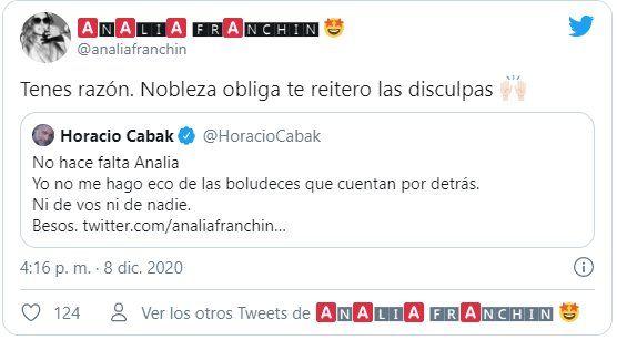 Este es el tuit donde Analía Franchín se disculpa con Horacio Cabak