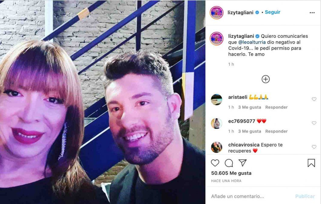 Lizy Tagliani y posteó en Instagram la noticia su novio Leo Alturria