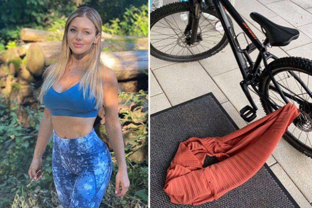 Evangelina Anderson y un impresionante blooper en bicicleta