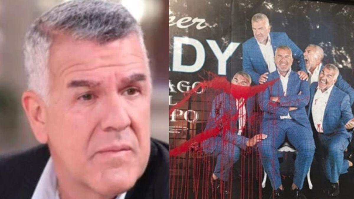 El productor y artista Dady Brieva sufrió una vandalización en su marquesina en el teatro El Picadero y apuntó contra los periodistas