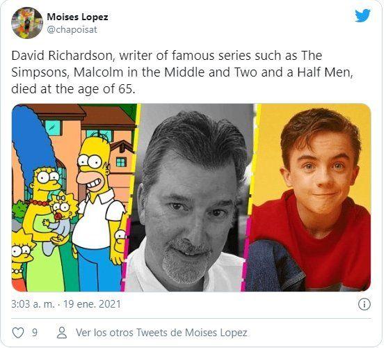 A través de la redes sociales un miembro de la familia informó del fallecimiento del guionista de Los Simpsons