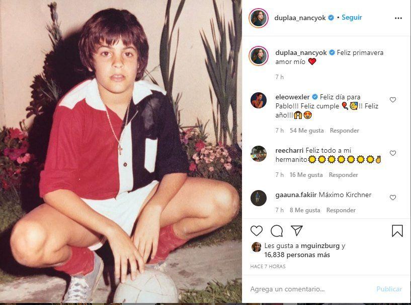 Esta es la fotografia que Nancy Dupláa posteo para festejar el cumple de Pablo Echarri