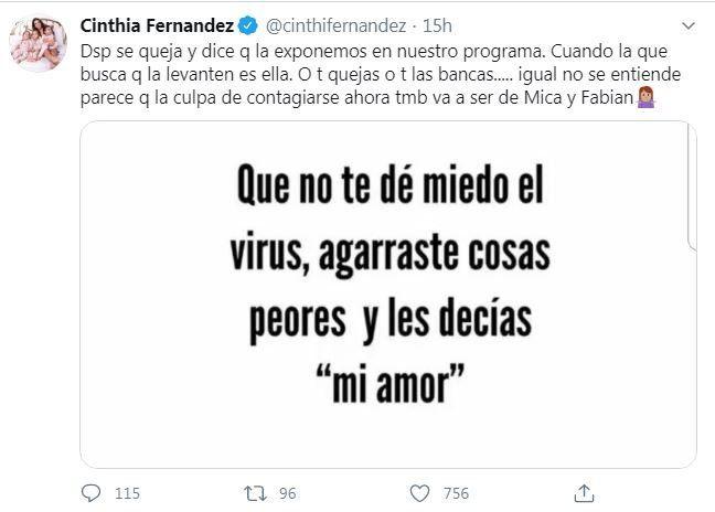 Cinthia Fernández volvió a atacar a Nicole Neumann