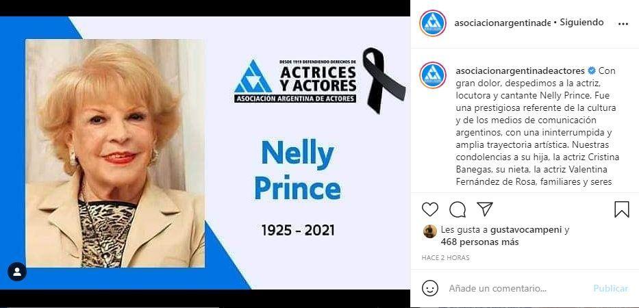 La Asociación Argentina de Actores comunicó el fallecimiento de la actriz Nelly Prince