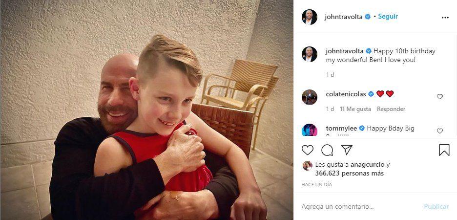 John Travolta usó sus redes sociales para saludar a su hijo Ben