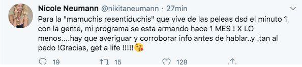 Con este tuit Nicole Neumann le devolvió el golpe a CInthia Fernández