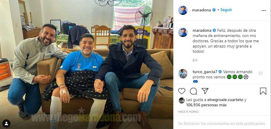Maradona expresó en Instagram su alegría por volver a entrenar