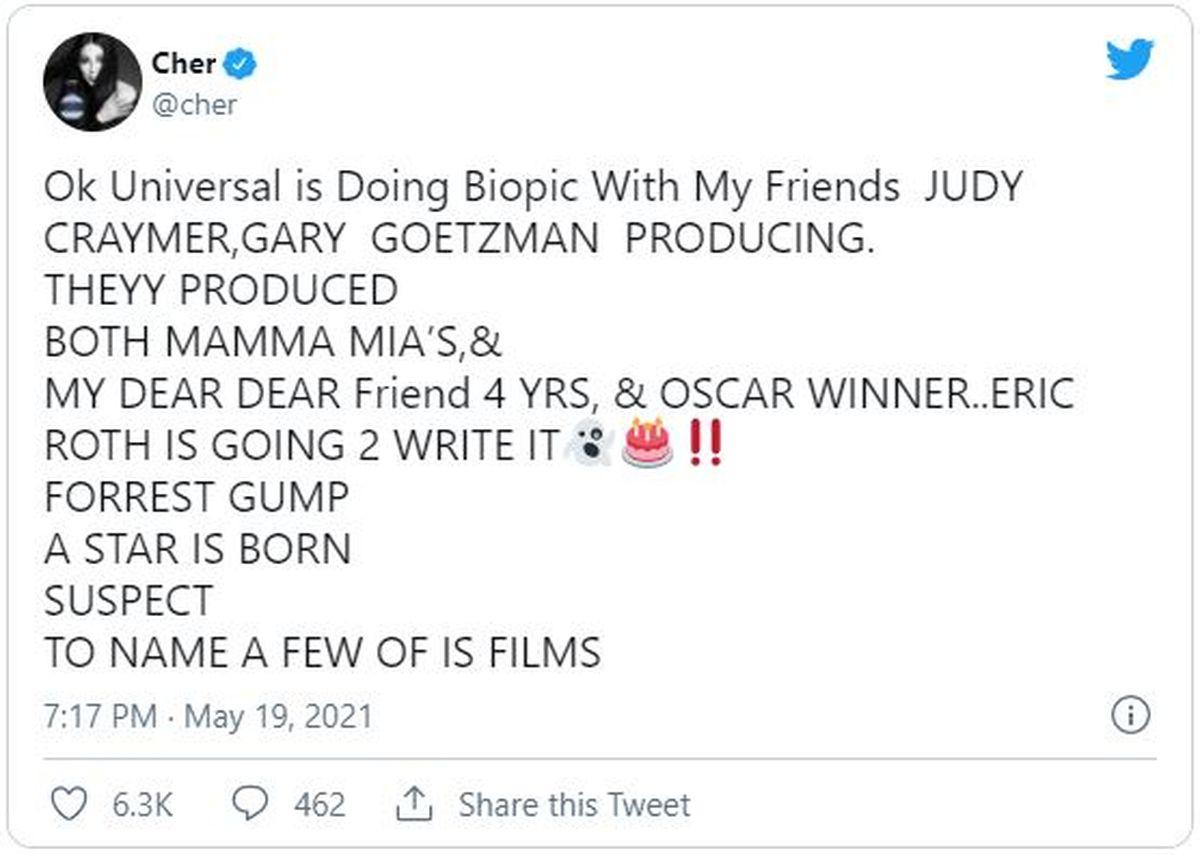Este es el tuit que la actriz y cantante Cher escribió el día de su cumpleaños
