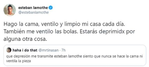 Este fue el intercambio que tuvo el actor Esteban Lamothe con un seguidor en Twitter