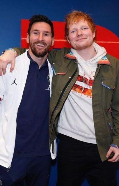 Ed Sheeran y Lionel Messi se conocieron luego del partido entre el Manchester City y el PSG
