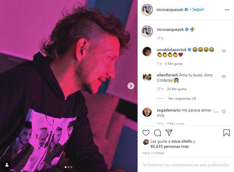 El actor Nico Vázquez publicó en sus redes sociales una fotografía de su nuevo look