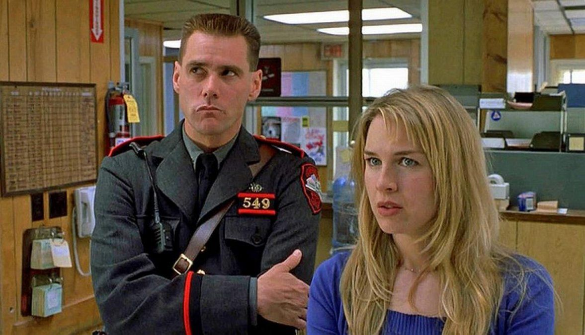 Jim Carrey y Renée Zellweger durante el rodaje de Me