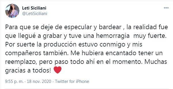 Leticia Siciliani explicó en Twitter su ausencia y Griselda Siciliani la apoyó