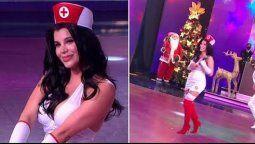 Charlotte Caniggia usó un traje de enfermera en el Cantando que casi la deja al descubierto