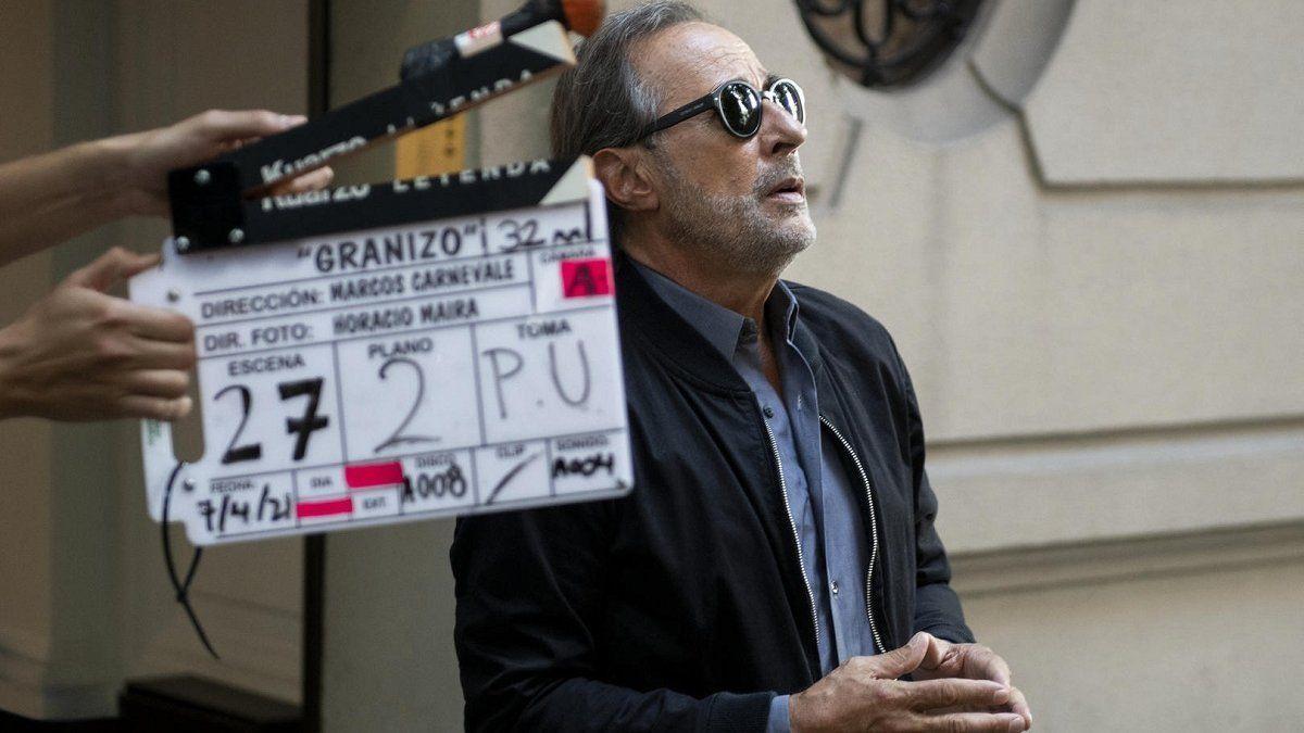 Guillermo Francella grabando en Córdona una escena de Granizo