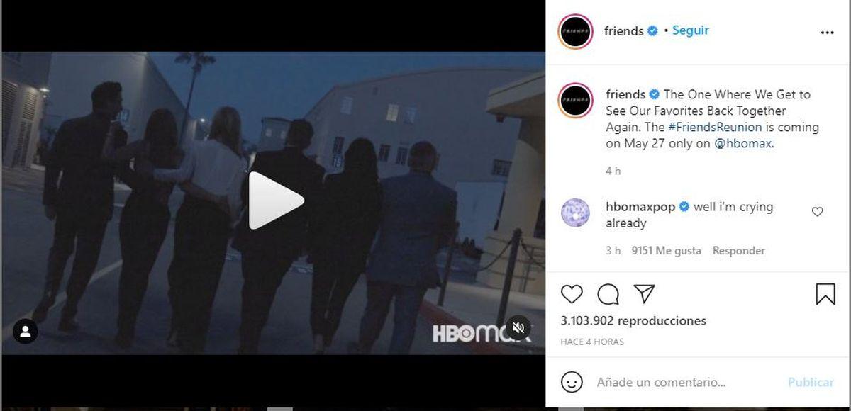 Este es el post que compartió la cuenta oficial de Friends para informar cuando estrenará su especial en HBO