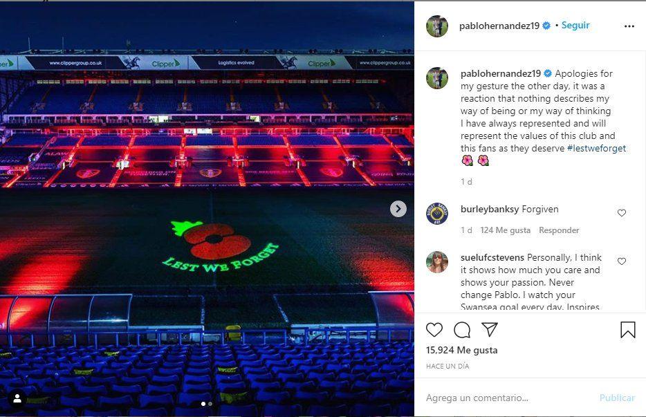 El jugador del Leeds Pablo Hernández pidió disculpas tras ser sancionado por Marcelo Bielsa