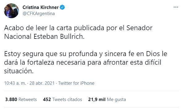 Cristina Fernández le dedicó un tuit al senador nacional Esteban Bullrich