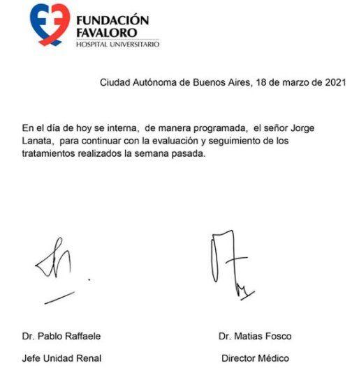Este es el comunicado donde se informó que Jorge Lanata está internado en La Fundación Favaloro
