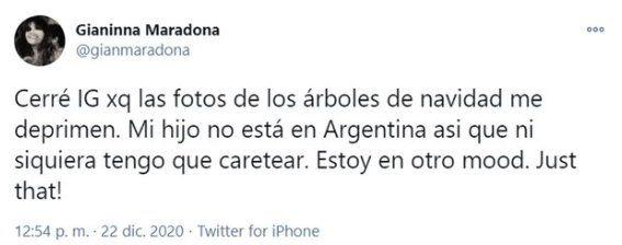 Este es el tuit donde Gianinna Maradona