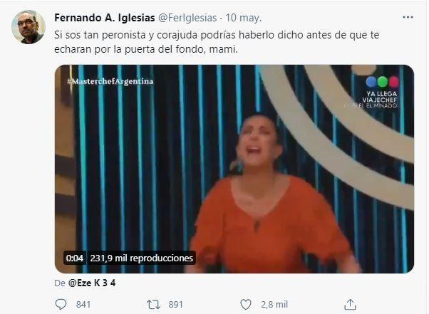 Este es el tuit de Fernando Iglesias le escribió a Andrea Rincón