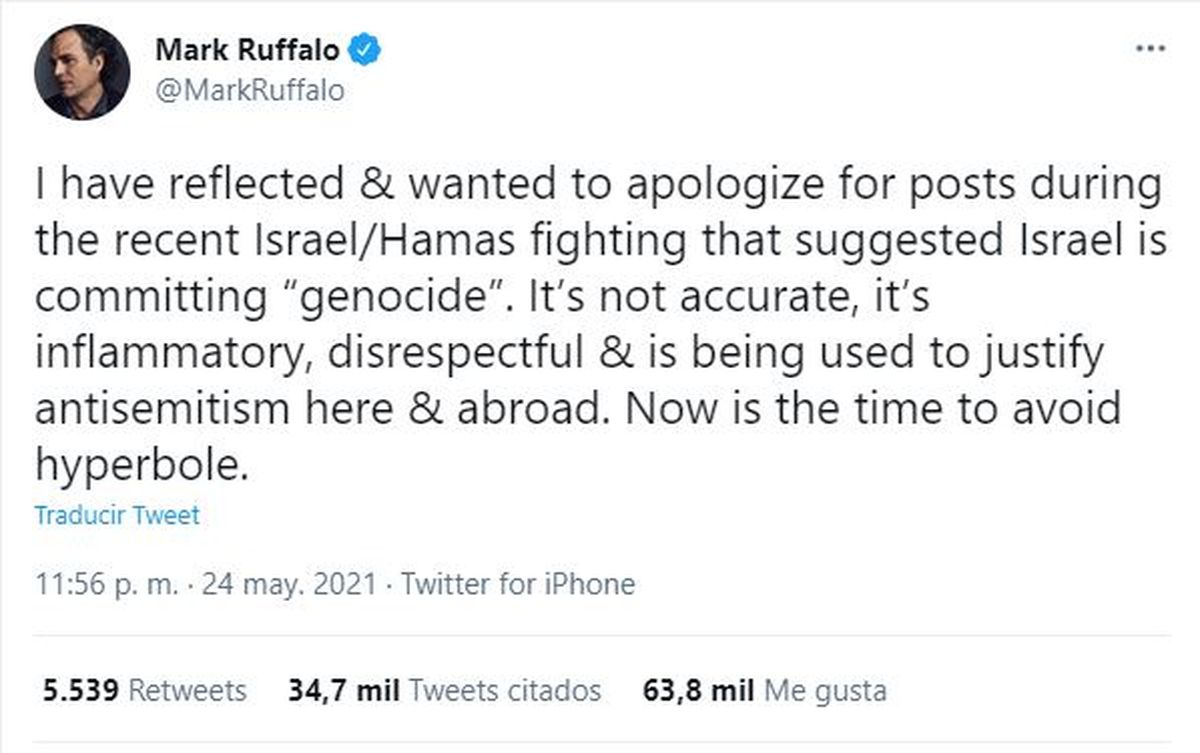 A través de la red social twitter Mark Ruffalo pidió disculpas por sus dichos acerca de Israel