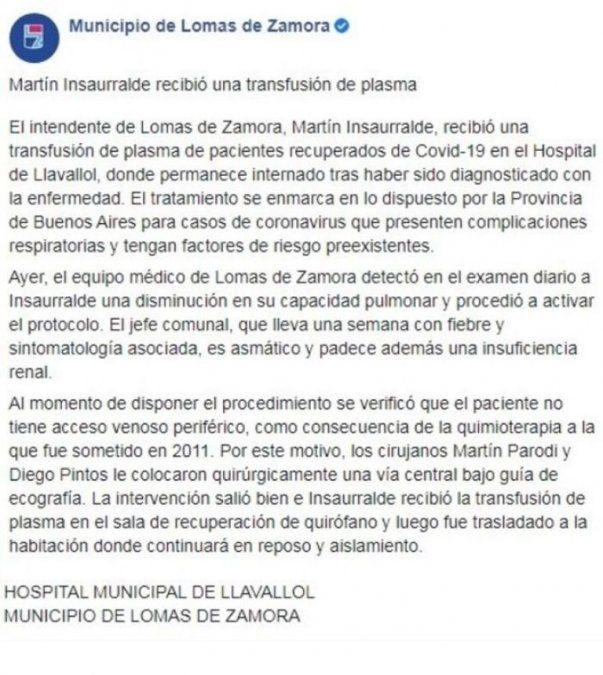 Parte médico de Martín Insaurralde