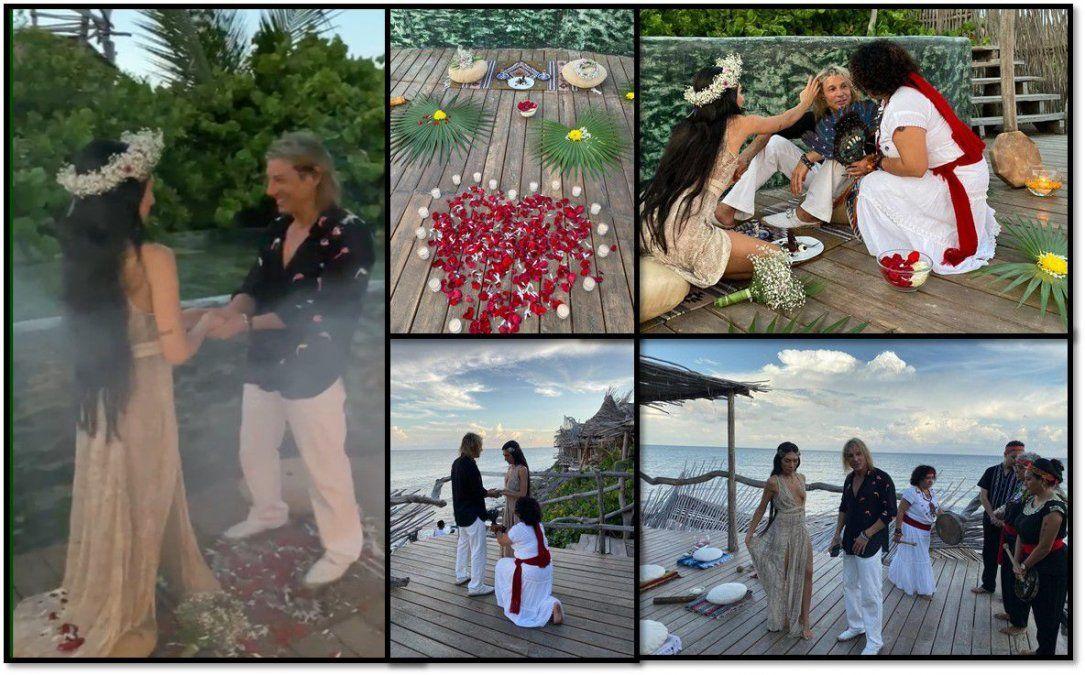 Videos y fotos del compromiso de Caniggia y Sofía Bonelli en Tulum: hechizos frente al mar para destruir a Nannis